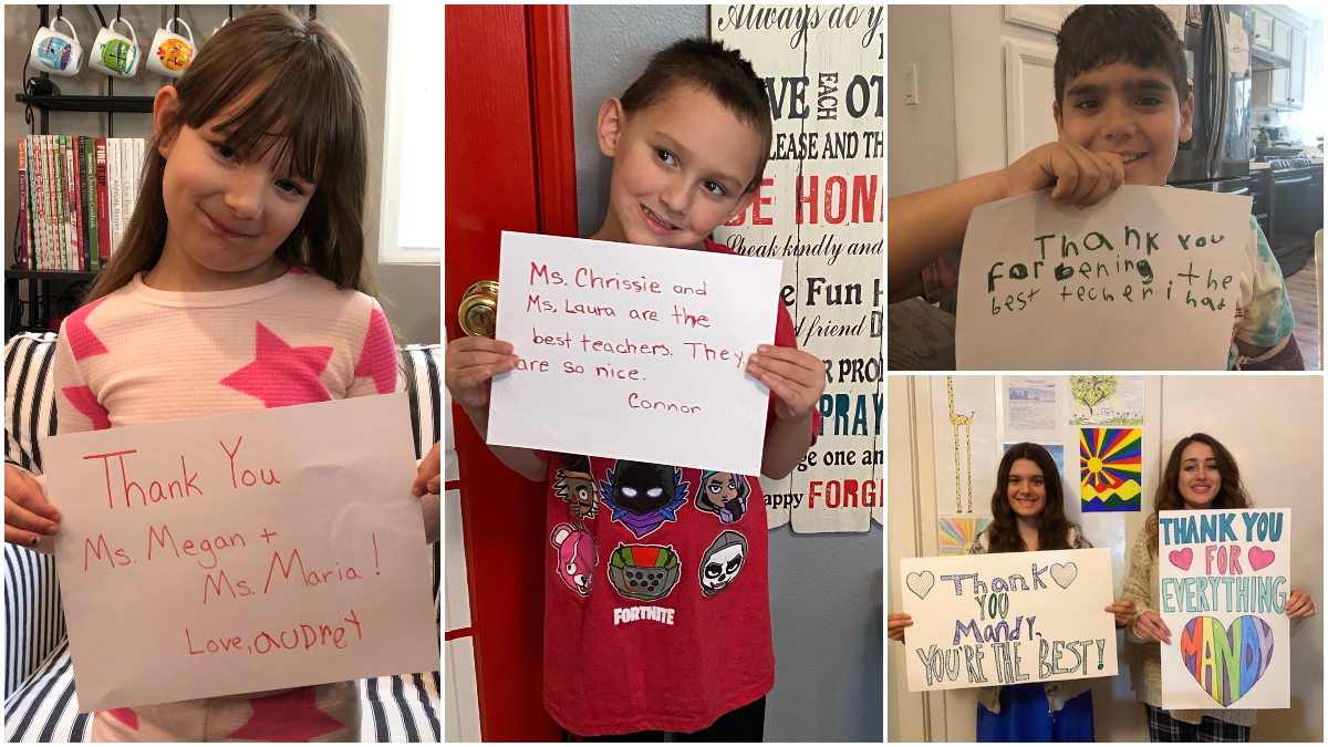 SCVi learners hold thank-you signs