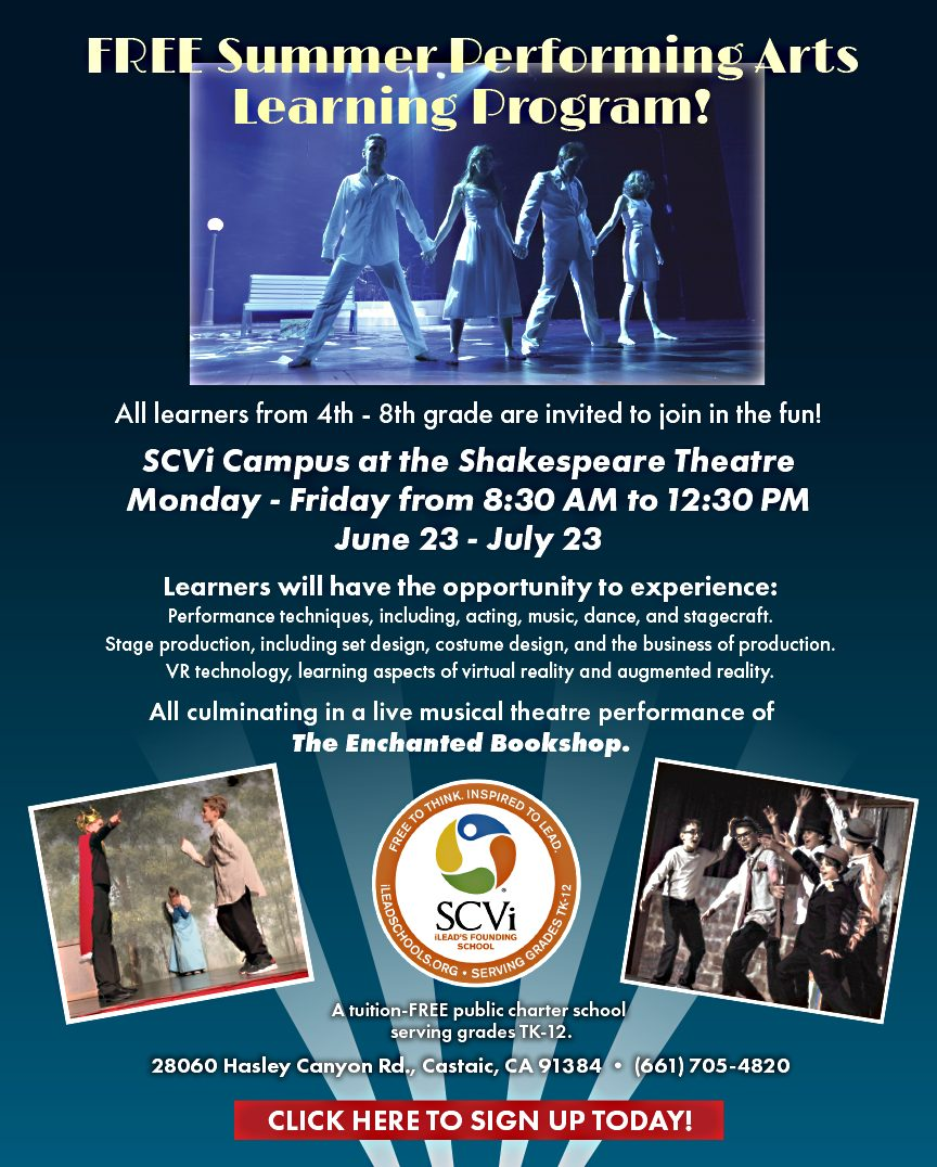 Learners from 4th – 8th grade have an opportunity to participate in a FREE summer performing arts learning program at SCVi from June 23 to July 23, Monday through Friday from 8:30 AM to 12:30 PM (day off July 5). Participants will have the opportunity to learn the following: Performance techniques, including acting, music, dance, and stagecraft. Stage production, including set design, costume design, and business of production. VR technology, including aspects of virtual reality and augmented reality. All culminating in a live musical theatre performance of The Enchanted Bookshop. This summer arts program is provided by SCVi in partnership with CEED TV.